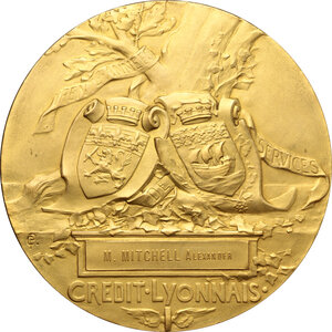 reverse: France.  Credit Lyonnais. Medal 1910 for Mitchell Alexander, for thirty years of service