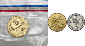 obverse: French West Africa.  Banque Centrale des États de l Afrique de l Ouest. . Lot of three (3) Pattern Essais: 50 Francs 1972, 25 Francs 1980 and 10 Francs 1981