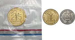 reverse: French West Africa.  Banque Centrale des États de l Afrique de l Ouest. . Lot of three (3) Pattern Essais: 50 Francs 1972, 25 Francs 1980 and 10 Francs 1981