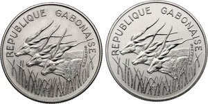 obverse: Gabon.  Republic. Lot of two (2) Pattern Essais 100 Francs, 1971 and 1975