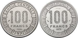 reverse: Gabon.  Republic. Lot of two (2) Pattern Essais 100 Francs, 1971 and 1975