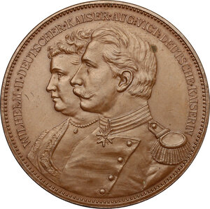 obverse: Germany.  Wilhelm II (1859-1941), and his wife Augusta Victoria of Schleswig-Holstein (1858-1921) . Medal celebrating imperial issue