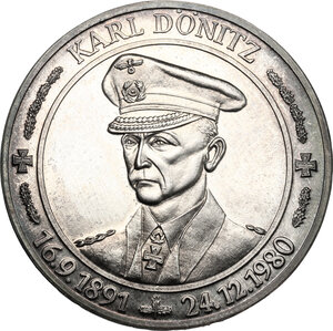 obverse: Germany.  Carl Donitz (1891-1980), Great Admiral for the German navy during World War II.. Medal 1981