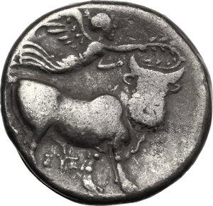 reverse: Central and Southern Campania, Neapolis. AR Nomos, c. 300-275 BC