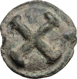obverse: Northern Apulia, Luceria.  Light series.. AE Cast Quincunx, c. 217-212 BC