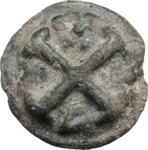 reverse: Northern Apulia, Luceria.  Light series.. AE Cast Quincunx, c. 217-212 BC