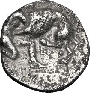 reverse: Southern Apulia, Caelia. AR Diobol, 325-275 BC