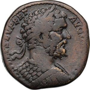 obverse: Septimius Severus (193-211) . AE Sestertius, 196 AD