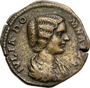 obverse: Julia Domna, wife of Septimius Severus (died 217 AD).. AE Sestertius