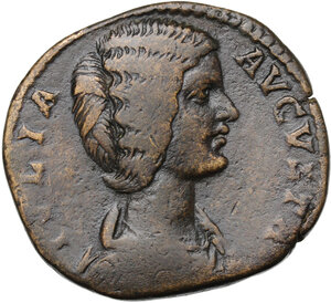 obverse: Julia Domna, wife of Septimius Severus (died 217 AD).. AE Sestertius, Rome mint