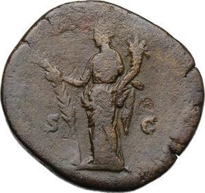 reverse: Julia Domna, wife of Septimius Severus (died 217 AD).. AE Sestertius, Rome mint