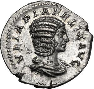 obverse: Julia Domna, wife of Septimius Severus (died 217 AD).. AR Denarius, struck under Caracalla, c. 215-217 AD