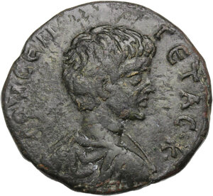 obverse: Geta as Caesar (198-209).. AE 28 mm (10.18 g, 2h). Marcianopolis mint (Moesia Inferior). Aurelius Gallus, consular legate