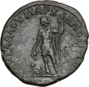 reverse: Geta as Caesar (198-209).. AE 28 mm (10.18 g, 2h). Marcianopolis mint (Moesia Inferior). Aurelius Gallus, consular legate