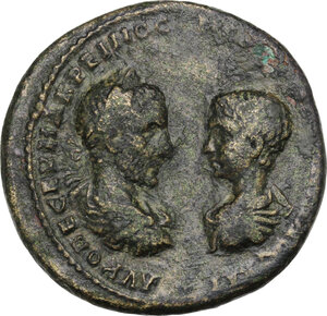 obverse: Macrinus and Diadumenian (217-218).. AE 28mm. Marcianopolis mint, Moesia Inferior