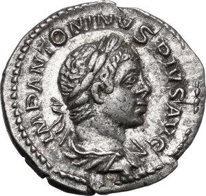 obverse: Elagabalus (218-222).. AR Denarius,  220-221. AD