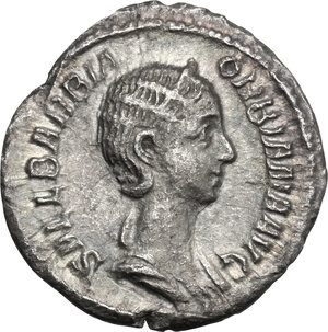 obverse: Orbiana, wife of Severus Alexander (225-227).. AR Denarius, Rome mint. Special marriage issue, 225 AD