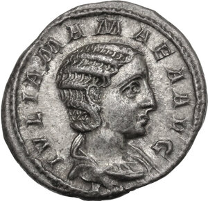 obverse: Julia Mamaea, mother of Severus Alexander (died 235 AD).. AR Denarius, Rome mint, 222 AD