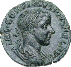 obverse: Gordian III (238-244 ).. AE Sestertius, Rome mint