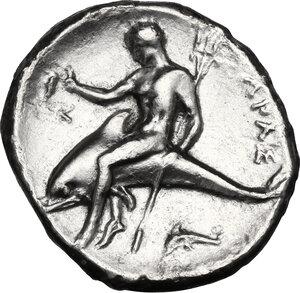 reverse: Southern Apulia, Tarentum. AR Nomos, c. 332-302 BC