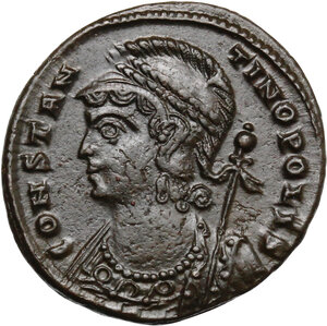 obverse: Constantine I (307-337). Commemorative series.. AE Follis, 336-337 AD. Thessalonica mint