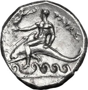 reverse: Southern Apulia, Tarentum. AR Nomos, 302-280 BC