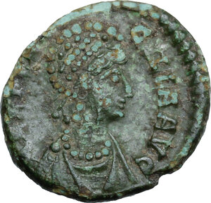 obverse: Aelia Flaccilla, first wife of Theodosius I (died 386 AD).. AE 14 mm. Constantinople mint. Struck circa 379-388 AD