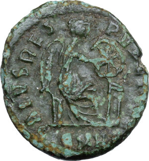 reverse: Aelia Flaccilla, first wife of Theodosius I (died 386 AD).. AE 14 mm. Constantinople mint. Struck circa 379-388 AD