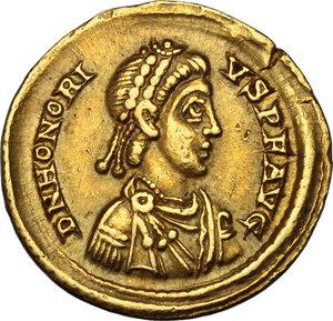obverse: Honorius (393-423).. AV Solidus, Mediolanum mint, 402-423 AD