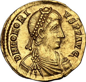 obverse: Honorius (393-423).. AV Solidus, Ravenna mint