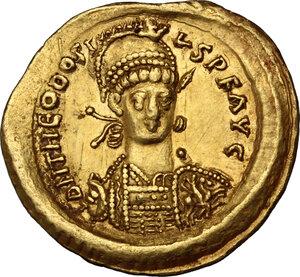 obverse: Theodosius II (408-450).. AV Solidus, Constantinople mint, 441-450 AD
