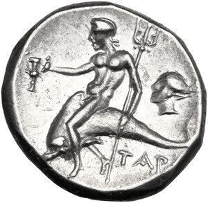 reverse: Southern Apulia, Tarentum. AR Nomos c. 272-240 BC