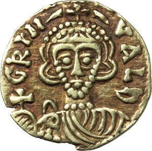 obverse: The Lombards at Beneventum. Grimoald III as Princeps (792-806).. AV Tremissis