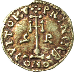 reverse: The Lombards at Beneventum. Grimoald III as Princeps (792-806).. AV Tremissis
