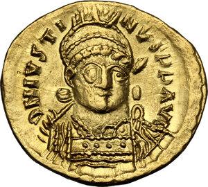 obverse: Justin I (518-527).. AV Solidus, Constantinople mint