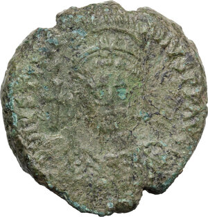 obverse: Justinian I (527-565)..  AE Half Follis. Sicilian mint? Dated RY 14
