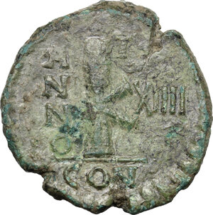 reverse: Justinian I (527-565)..  AE Half Follis. Sicilian mint? Dated RY 14