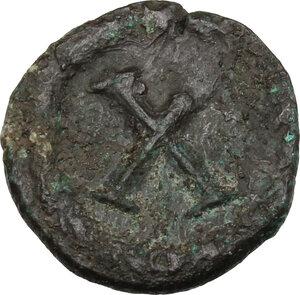 reverse: Justinian I (527-565).. AE Decanummium, Rome mint