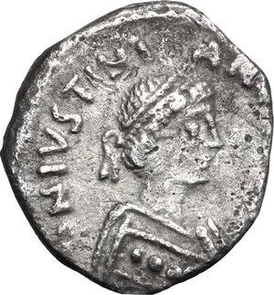 obverse: Justinian I (527-565).. AR 250 Nummi, Ravenna mint