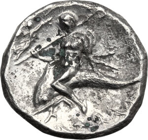 reverse: Southern Apulia, Tarentum. Fourrée Nomos, c. 272-240 BC