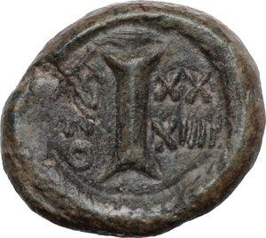 reverse: Justinian I (527-565).. AE Decanummium, Ravenna mint