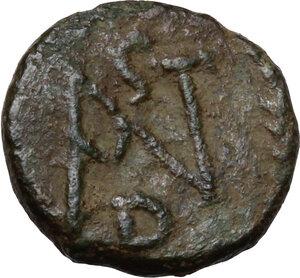 reverse: Justinian I (527-565).. AE Nummus, Uncertain mint (Ravenna?)