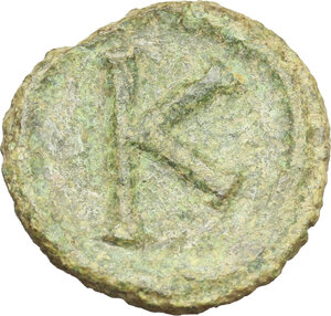 reverse: Justinian I (527-565).. AE Half Follis. Salona (?) mint