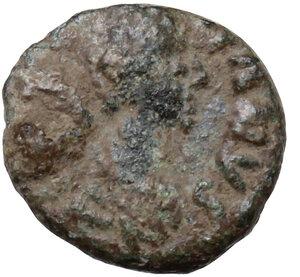 obverse: Justinian I (527-565).. AE Nummus, Uncertain mint (Ravenna or Constantinopolis?)