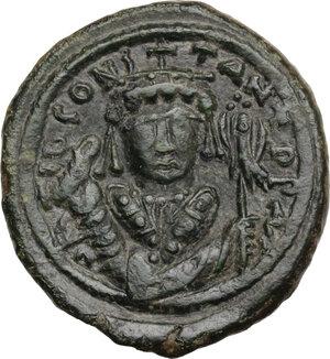 obverse: Tiberius II Constantine (578-582).. AE Follis, Nicomedia mint. Dated RY 8 (581/2)