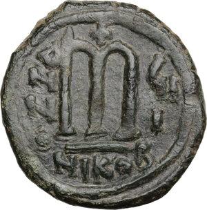 reverse: Tiberius II Constantine (578-582).. AE Follis, Nicomedia mint. Dated RY 8 (581/2)