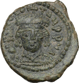 obverse: Tiberius II Constantine (578-582).. AE Decanummium, Ravenna mint