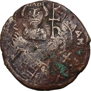 obverse: Heraclius (610-641).. AE Follis, countermarked on a Follis of Justinian I, Sicilian mint