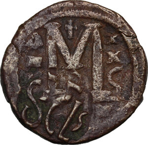 reverse: Heraclius (610-641).. AE Follis, countermarked on a Follis of Justinian I, Sicilian mint
