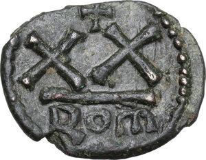 reverse: Constans II (641-668).. AE Half Follis, Rome mint